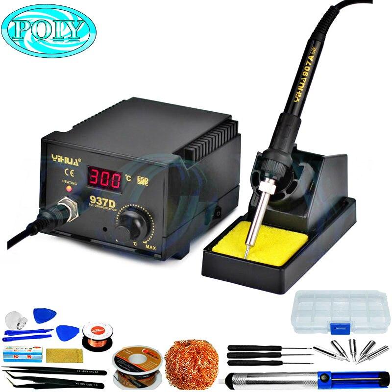 YIHUA 937D, alta calidad, 110V/220V, 45W, estación de soldadura Digital con Control de temperatura, estaciones de reprocesado, pistola de aire caliente enchufable