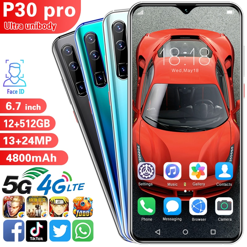 P30pro Smartphone Android Mtk6889 Deca Core Mobile Phones 5g Dual Card Standby Nano Sim Card 12+512G 13mp+24mp Featured Phone