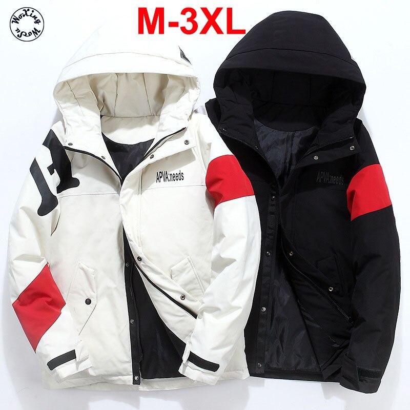 Белый гусиный пуховик для школьников, Молодежная куртка с капюшоном, модный пуховик для мальчиков, Молодежная куртка размеров от M до 4XL