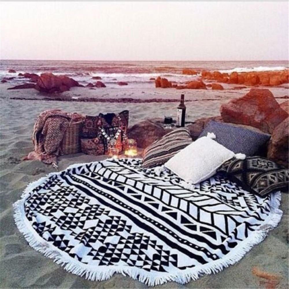 Toalla de baño de microfibra para playa, de secado rápido esterilla de yoga, chal redondo de vendaje, toalla de playa borla