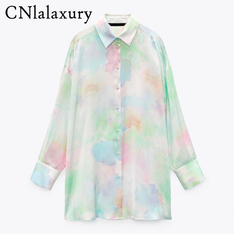 Cnlalaxأصلية 2021 قميص حريمي من الساتان مزين برباط وأكمام طويلة مناسب للخريف بلوزات واسعة غير رسمية