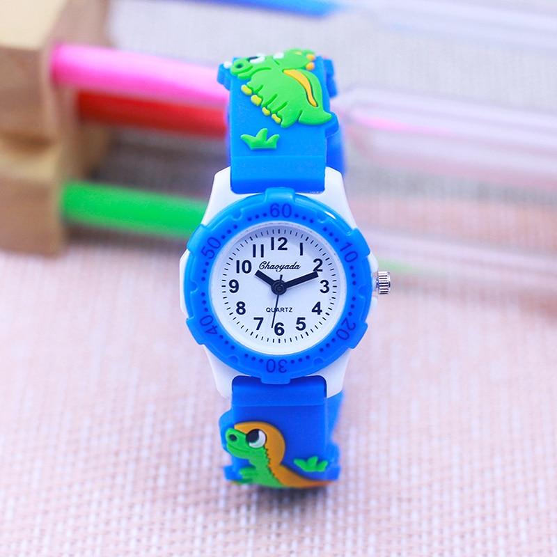 cute lovely dinosaur silicone strap students boys girls quartz wristwatch little kids fashion Rotate