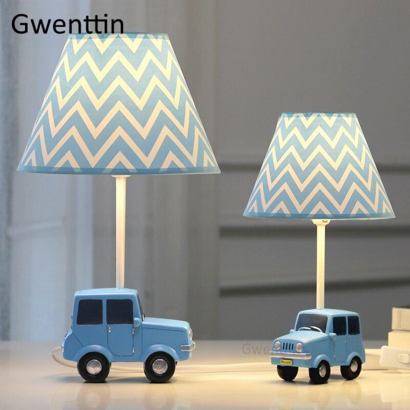 Lámpara de mesa de coche de dibujos animados para habitación de niños, dormitorio, lámpara de escritorio moderna, lámpara de pie Led, luminaria de estudio decoración de casa