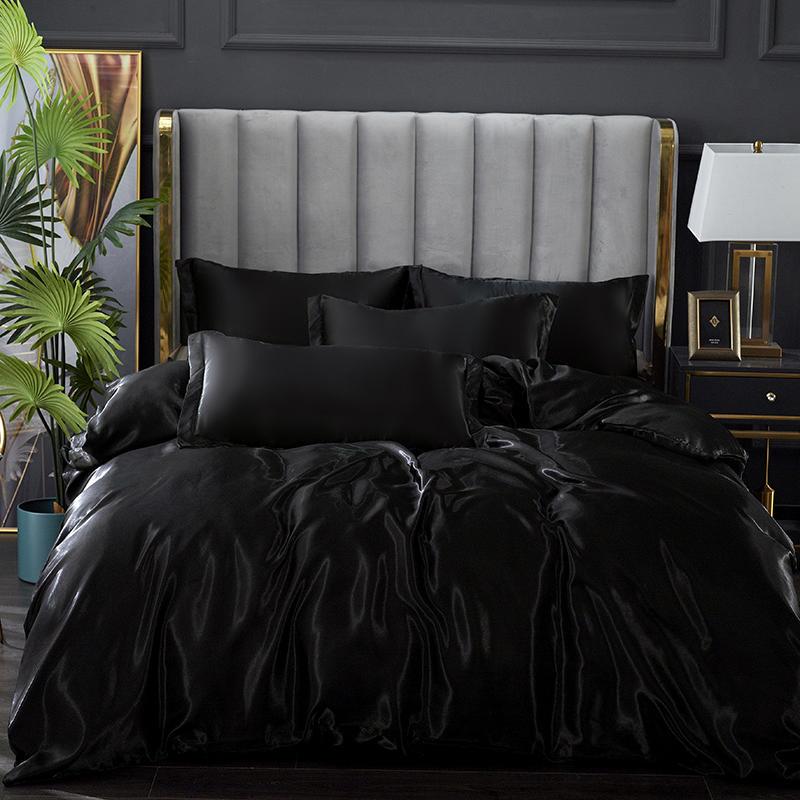أسود الفراش مجموعات الملك حجم مزدوج PLA كول الألياف الصيف المستخدمة ورقة سرير مفرد مجموعة الفراش الفاخرة حاف مجموعة غطاء الملكة حجم