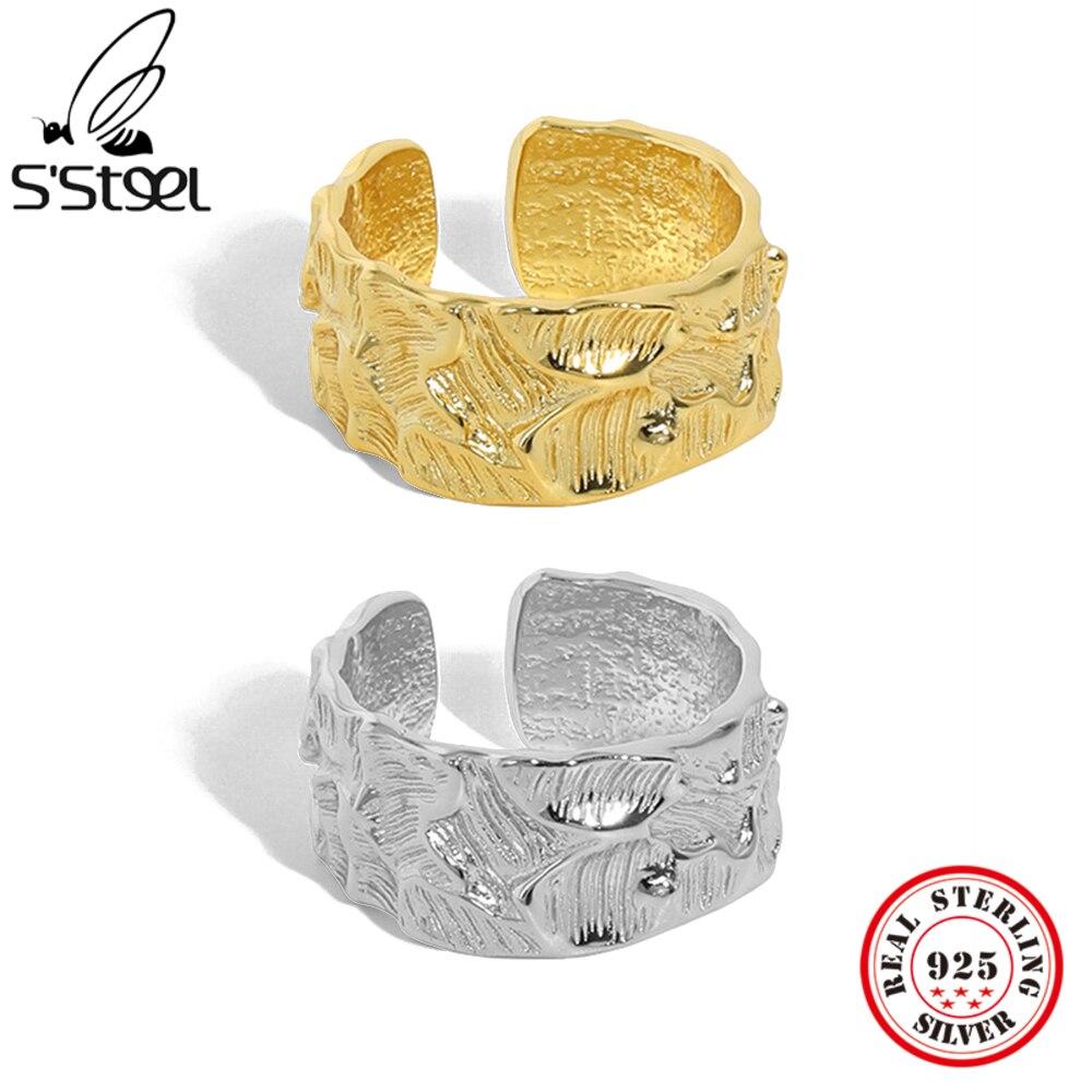 Женское-Открытое-кольцо-с-вогнутой-выпуклой-текстурой-из-серебра-925-пробы