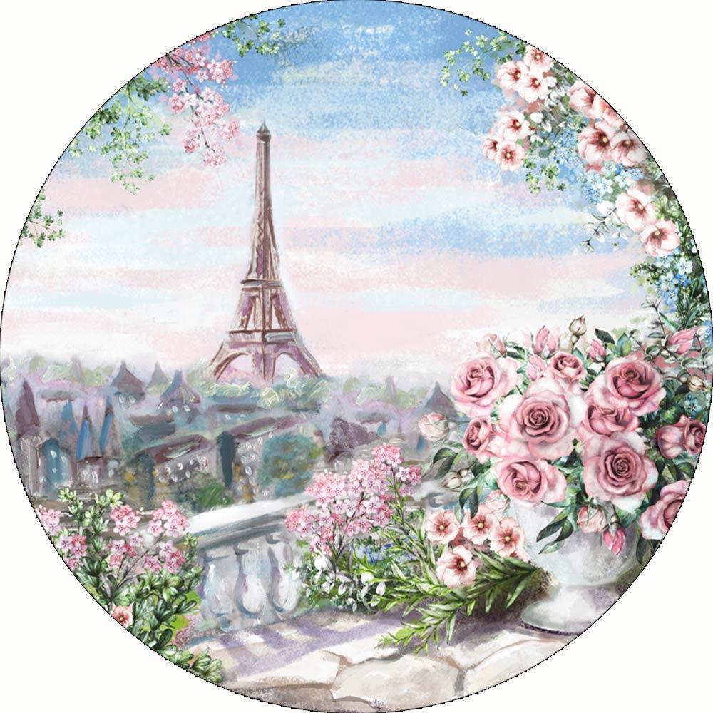 Fondo redondo de Torre Eiffel para Boda, pintura Vintage de rosa, Día...