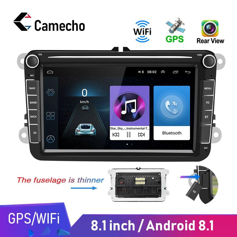 Camecho Auto Multimedia player Android 8,1 GPS 2 Din Auto Autoradio Radio Für VW/Volkswagen/Golf/Polo/Passat/b7/b6/SITZ/leon/Skoda