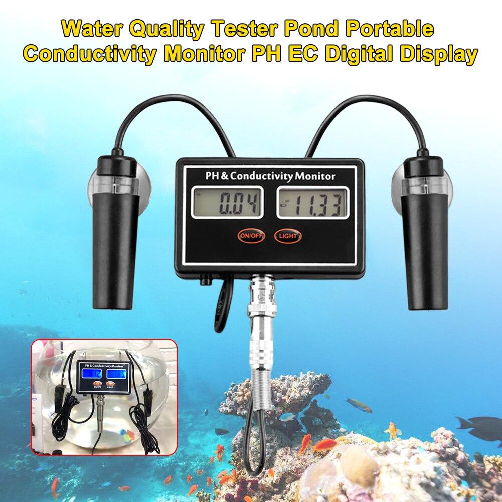 Pantalla Digital PH EC herramienta de medición casera portátil con Monitor de conductividad de luz de fondo probador de calidad de agua en línea fácil lectura