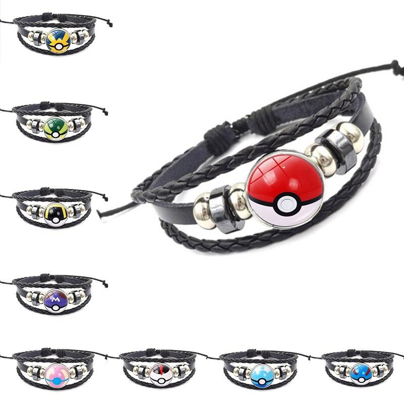 Anime Pokemon pulsera Cosplay accesorios joyería Poke Ball muñequera Pokemon Go