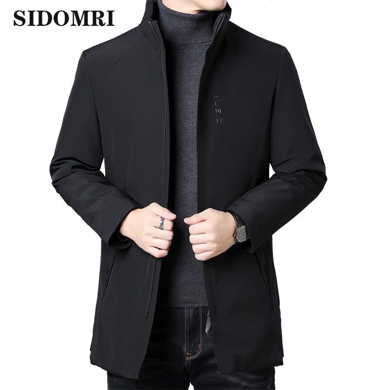 Men's down jacket Casual middle age winter black multi-pocket solid color basic zip-up coat slim and warm jacket