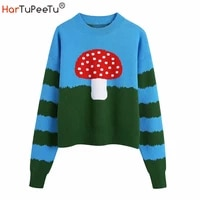 autumn winter 2021 knitted sweater women mushroom back plaid print pullover long sleeve loose casual basic knitwear