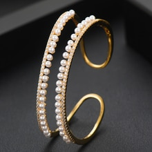 Godki 2020 Luxe 2 Rijen Parel Manchet Armbanden Voor Vrouwen Bruiloft Bagutte Cut Cubic Zirkoon Crystal Cz Dubai Armband Party sieraden