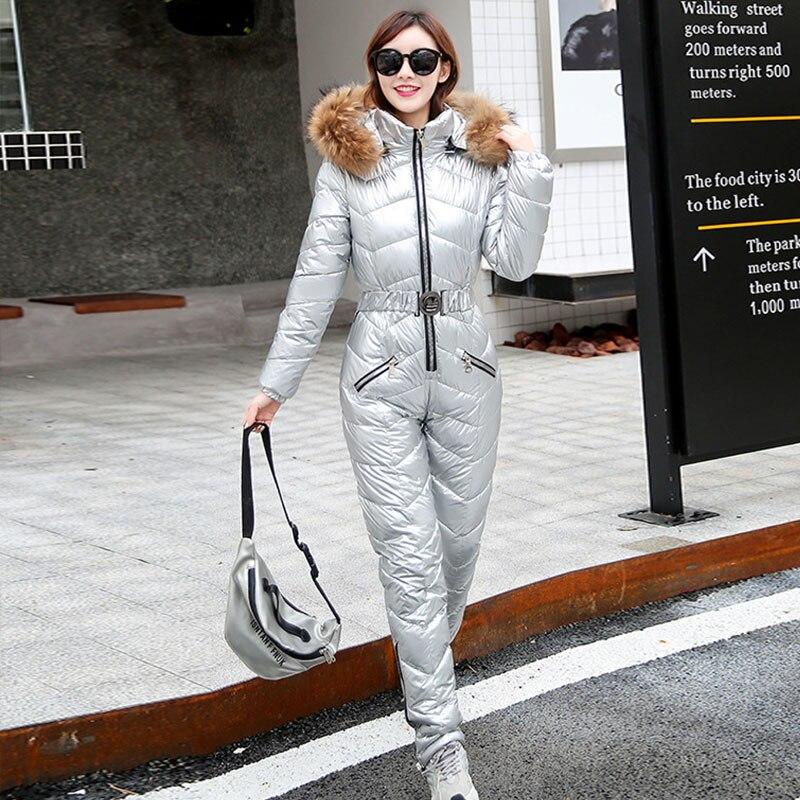 2021 Winter Women's Cotton Outdoor Ski Suit One Piece Mode Elegant Jumpsuits Casual Thick Long Jumpsuit Women Suit Bodysuit enlarge