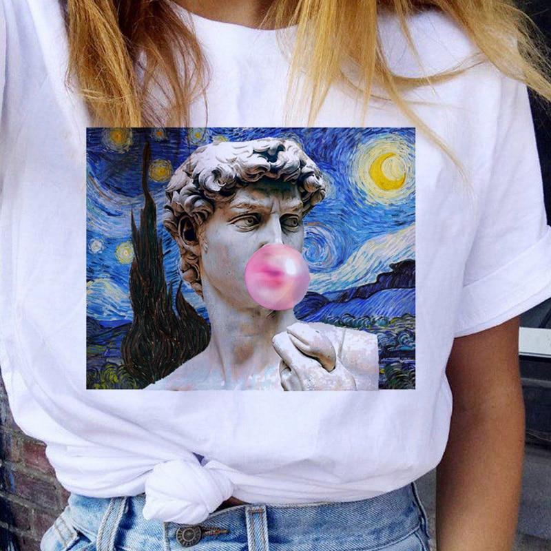Camiseta de verano para mujer, camiseta Ullzang estética 90s Van Gogh, camiseta Harajuku Vintage, camiseta de moda de estilo coreano para mujer