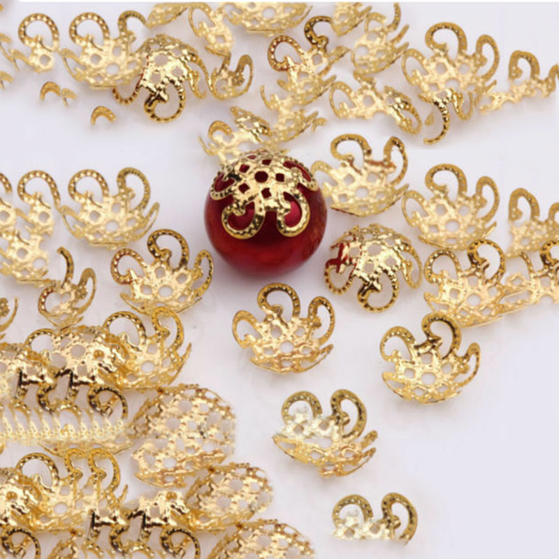 AliExpress - 200Pcs 10mm Five Petals Flower Filigree Beads Caps for Jewelry Making Bracelet Necklace Diy End Spacer Beads Accessories