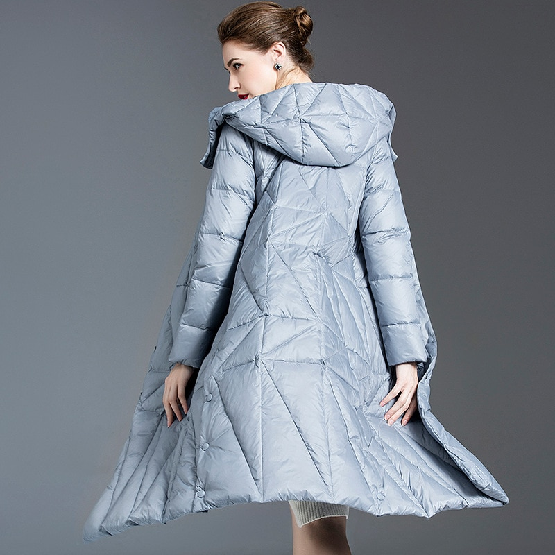 Women down coats luxury autumn winter warm fashion 90% white duck Jackets Female lady long puffer down jacket hooded blue slim