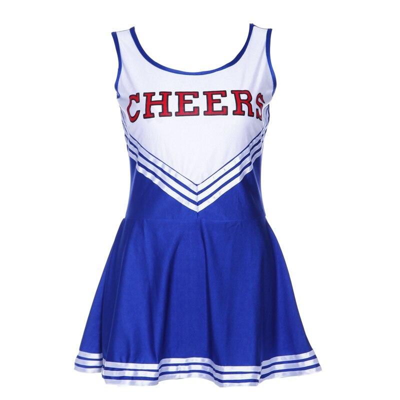 Vestido sin mangas azul elegante vestido animadora pom girl party girl XS 28-30 fútbol escuela