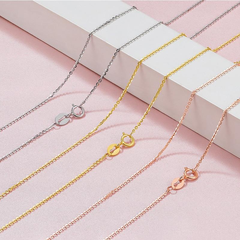 FENASY 18K الذهب الوردي الذهب الأبيض Au750 الذهب الأصفر 18 بوصة القلائد للنساء الزفاف مجوهرات الخطوبة