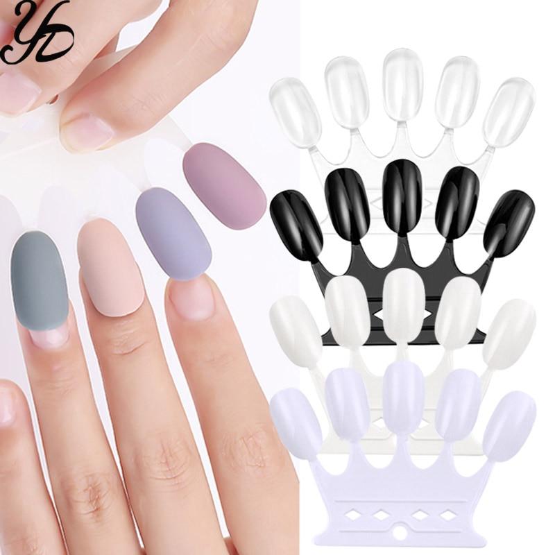 Yiday 1pack / 10 pcs Crown Nail Art Color Display False Tips UV Gel Polish Decoration Beginner Practice Colors Test Salon Tools