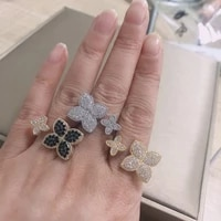 bilincolor fashion double clover adjustble ring for women