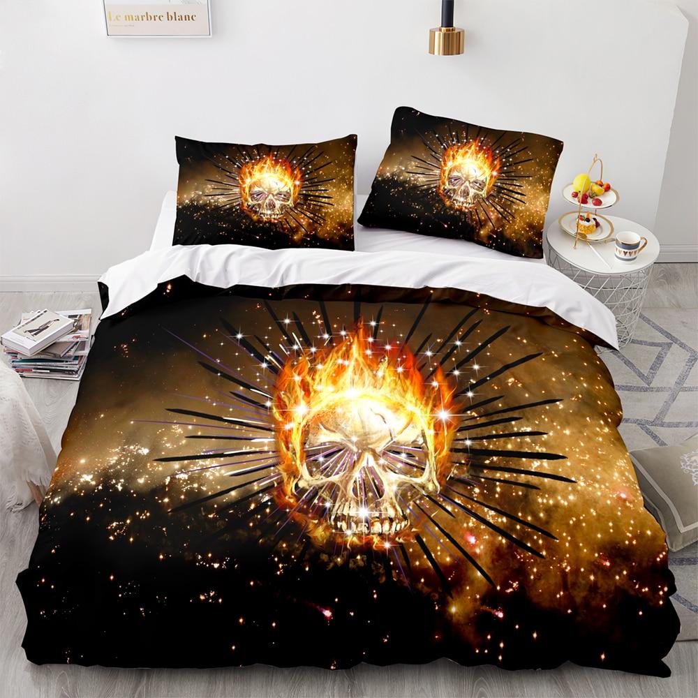 الجمجمة المعزي حاف مجموعة غطاء الذهب النار الجمجمة الفراش مجموعات لينة المفارش ثلاثية الأبعاد الجمجمة طقم سرير لغرفة النوم مع المخدة