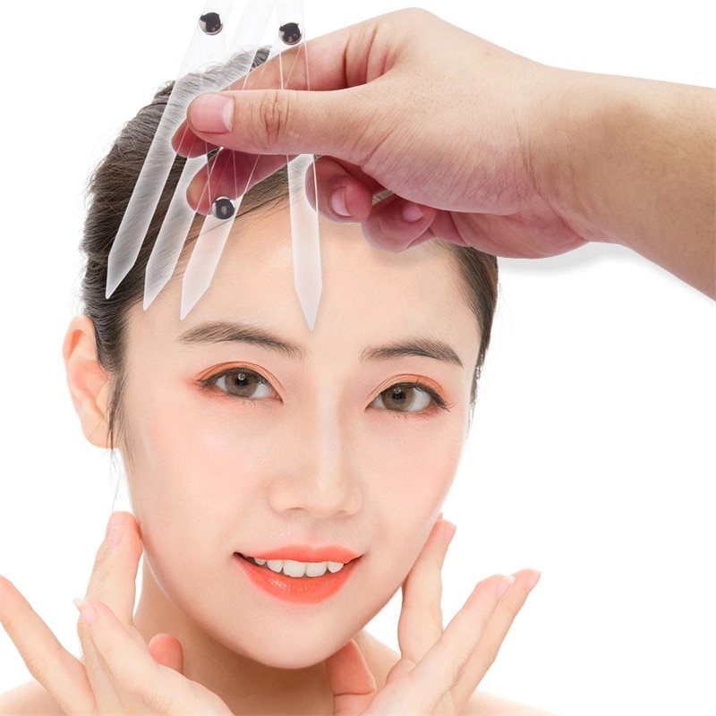 New Transparent Plastic Four Corners Eyebrow Measurement Ruler Permanent Makeup Stencil Golden Ratio
