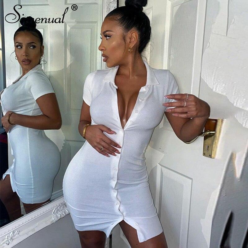 AliExpress - Simenual Ribbed Button Bodycon Mini Dress Women Short Sleeve Solid Fashion Skinny Clubwear 2021 Summer Dresses Casual Slim Basic