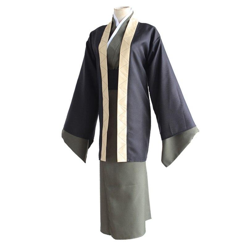 Brdwn bungo cães vadios unises yukichi fukuzawa cosplay traje quimono terno (haori + kimono + cinto)
