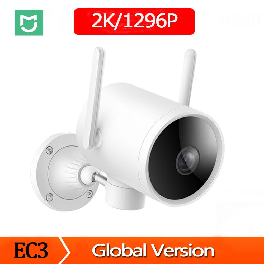 Versão global xiaomi 2k inteligente câmera ao ar livre 1296p à prova dwaterproof água ai detecção humanóide webcam wifi visão noturna infravermelha vídeo cam