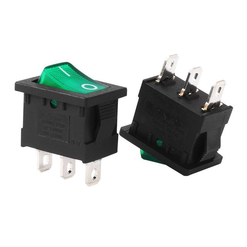 New 5Pcs AC 10A/125V 8A/250V SPST 3P 2 Position Green LED Light Boat Rocker Switch