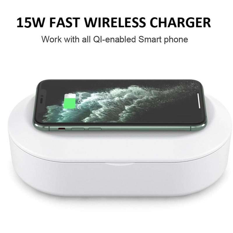 2 en 1 Smartphone UV Sanitizer 15W inalámbrico Teléfono de carga rápida lámpara ultravioleta de desinfección celular UV esterilizador cargador