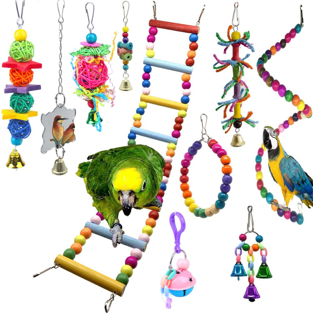 Brinquedos e Papagaio Pipifren Packs Pássaro Poleiro Suporte Balanço Cockatiel Brinquedos Acessórios Parkiet Cinza Africano Speelgoed 10