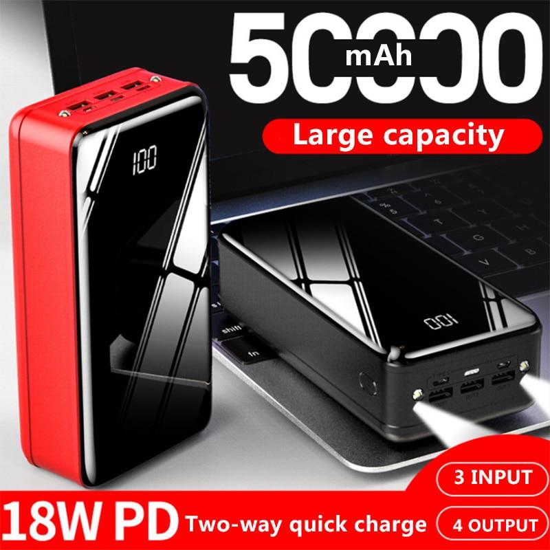 Real Power Bank 50000mAh Tragbare Aufladen Power 4 ausgang 3 eingang PoverBank Externe Batterie Ladegerät Für Xiao mi mi iPhone