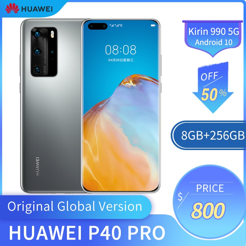 Перейти на Алиэкспресс и купить Huawei P40 Pro 6,58 дюймов OLED экран 5G мобильный телефон 8 ГБ + 256 Гб Смартфон 50MP + 32MP 4200 мАч Kirin 990 Android 10 Global