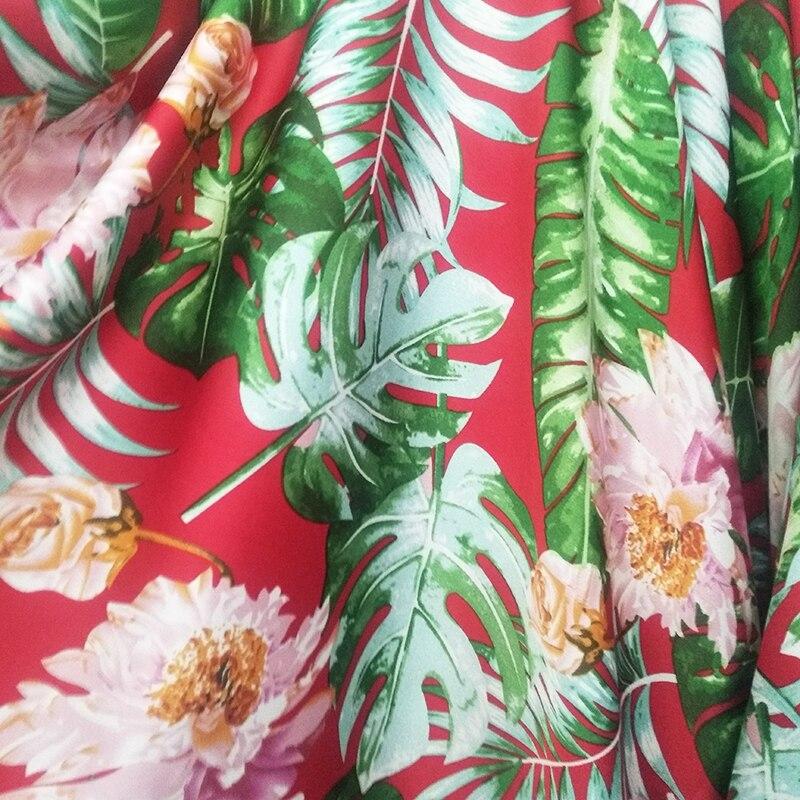 Moda imitación seda gasa tela verde Banana hojas flor estampado poliéster gasa tela para manualidades, Costura verano Dress150cm * 1m