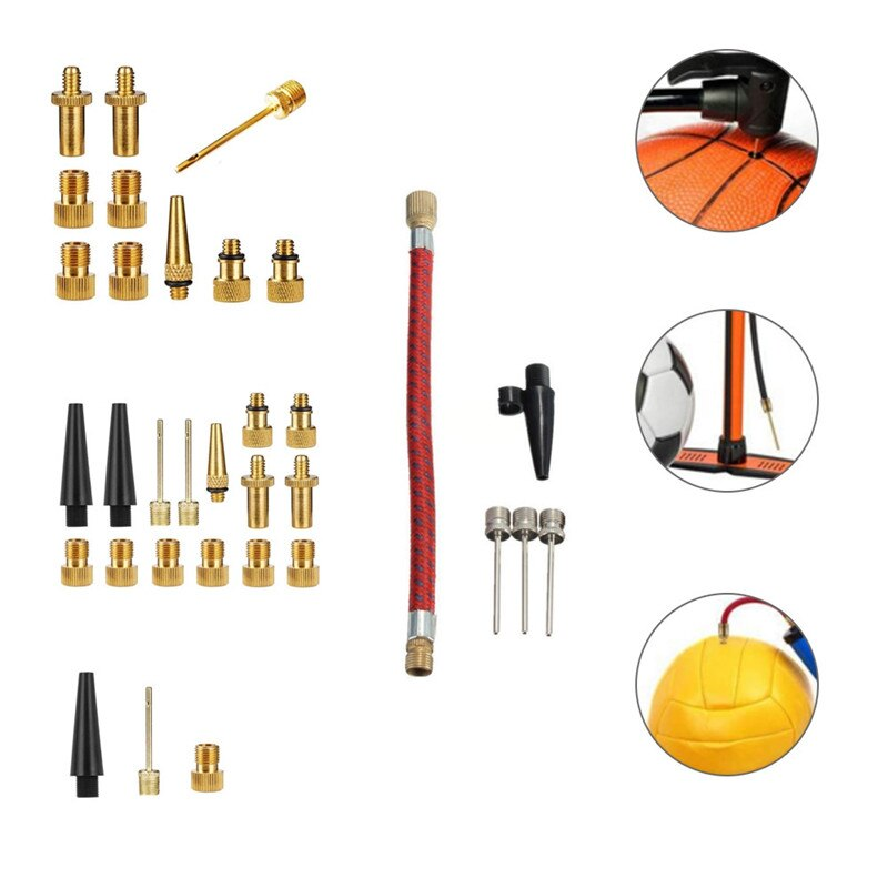 Multi-funtional Valves Adaptors Air Sports Ball Pump Inflator Needle Adapter Hose Set for Bike Soccer Basketball Football