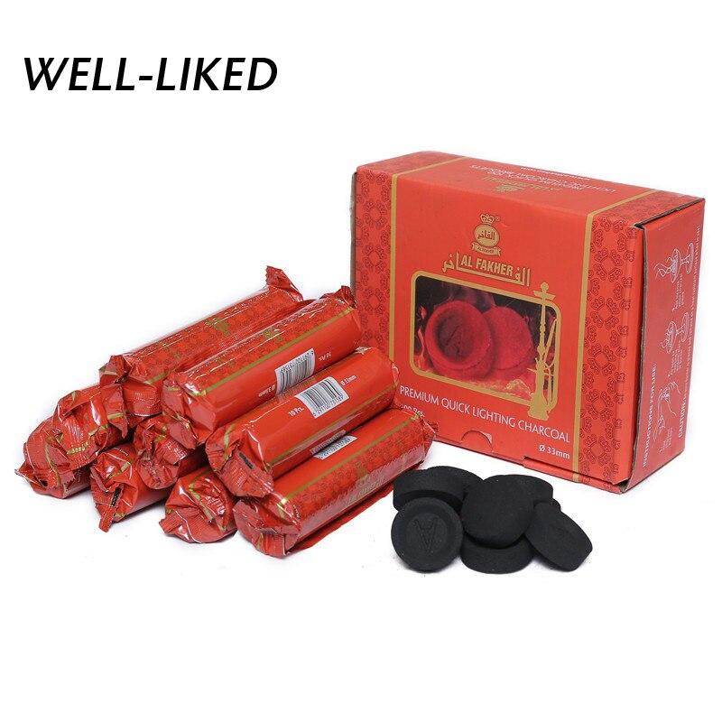 100 piezas natural Chicha plenamente la quema de carbón rápidamente luz carbón Shisha Hookah Chicha de Sheesha venta al por mayor