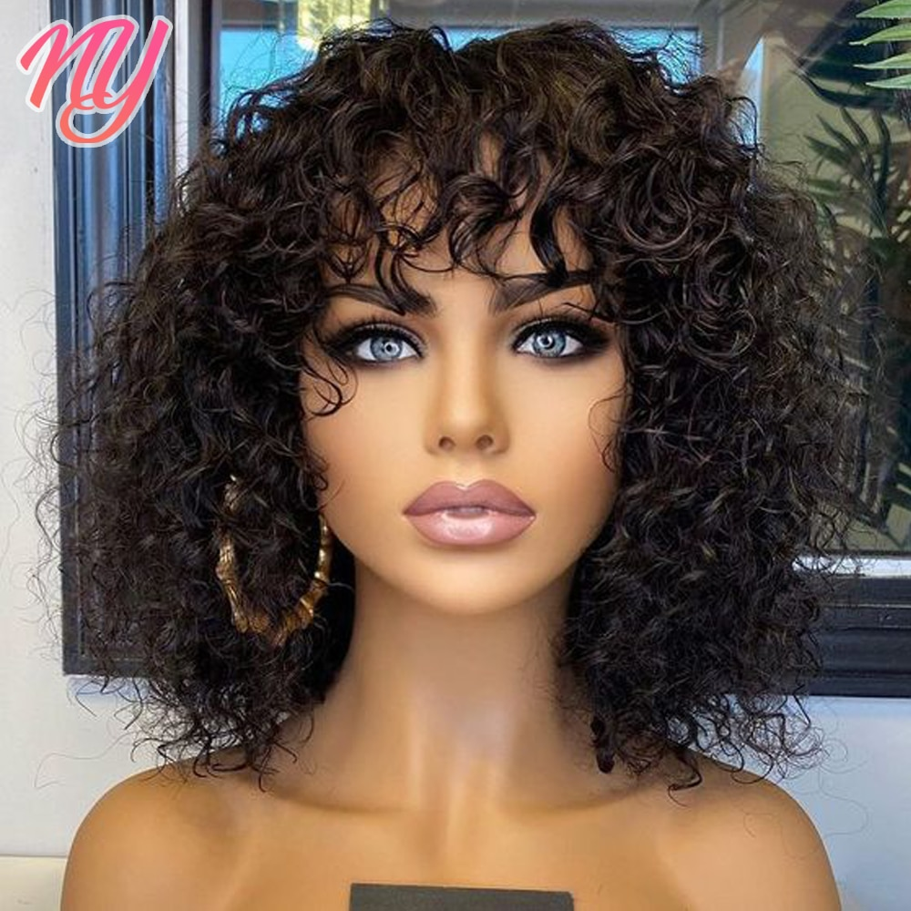 Glueless Water Wave Wig Human Hair Wigs With Bangs Full Machine Made Wig For Black Women Curly BOB wet and wavy wig Curly Hair