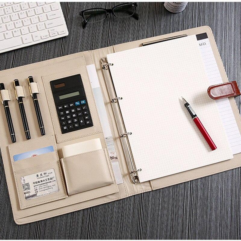 Многофункциональная папка свободные листья бизнес клип вставка ручка калькулятор карта посылка канцелярские принадлежности для ноутбука ...