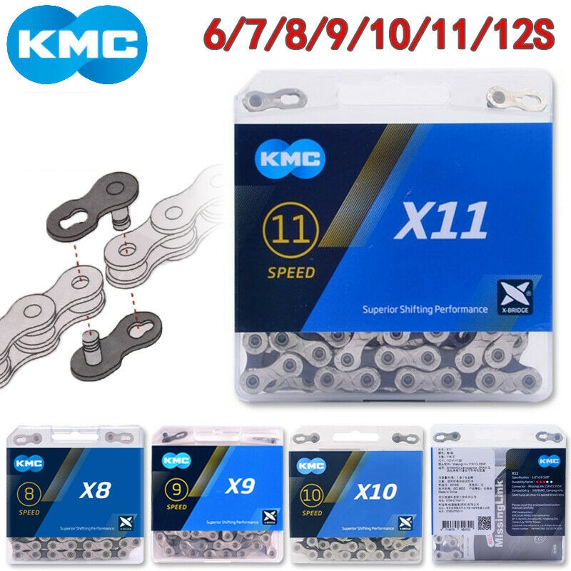 Велосипедная цепь KMC X11 X10 X9 X8 велосипедная 116/118 звеньев для горного велосипеда