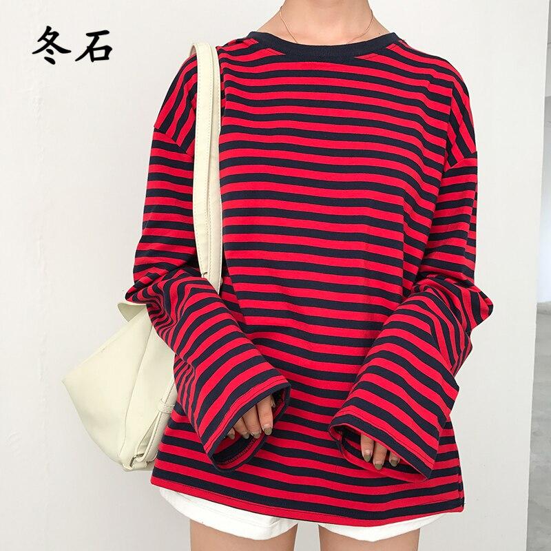 Nuevo Vintage básico de moda suelta Casual rayas todo partido Simple mujer...