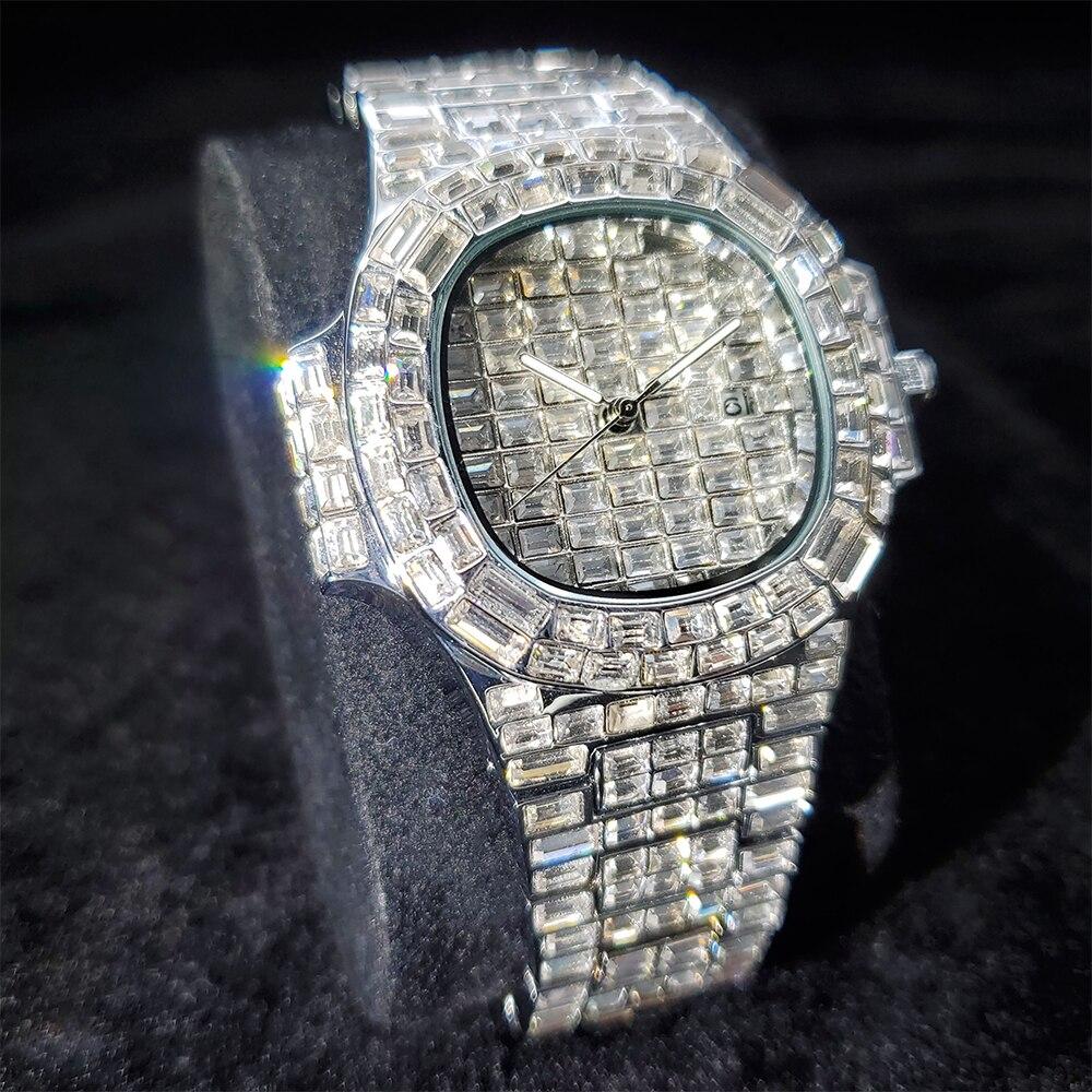 Hip Hop MISSFOX Fully Baguette Diamond Watch Men Street Wear Mens Watches Top Brand Luxury Quartz Male Wrist Watch Man Jewelry enlarge