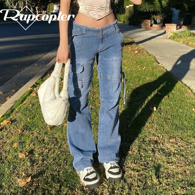 Rapcopter Y2K Blue Jeans Retro Sashes Denim Pants Ruched Drawstring Cargo Pants Women Big Pockets Trousers Women Streetwear Jean