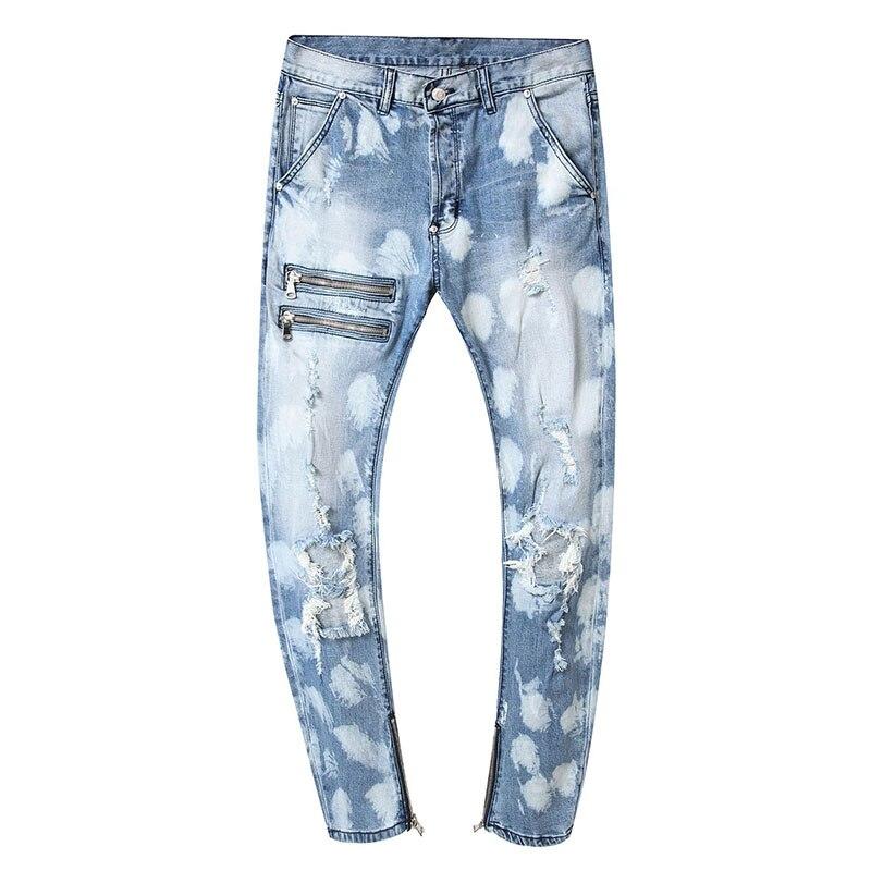 Мужские Молодежные рваные узкие прямые однотонные брюки высокого качества, джинсовые повседневные мужские модные брюки, универсальные ули...