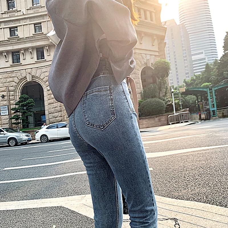 Korean vintage high waist elastic skinny jeans women streetwear tight denim straight leg ankle-length pants slim pencil trousers