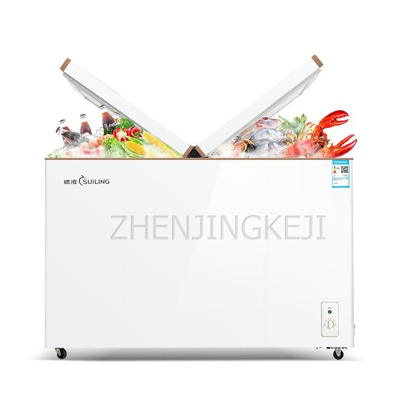 Armário de refrigeração de congelação horizontal do congelador comercial porta de borboleta de alta capacidade dupla temperatura manter o congelador fresco