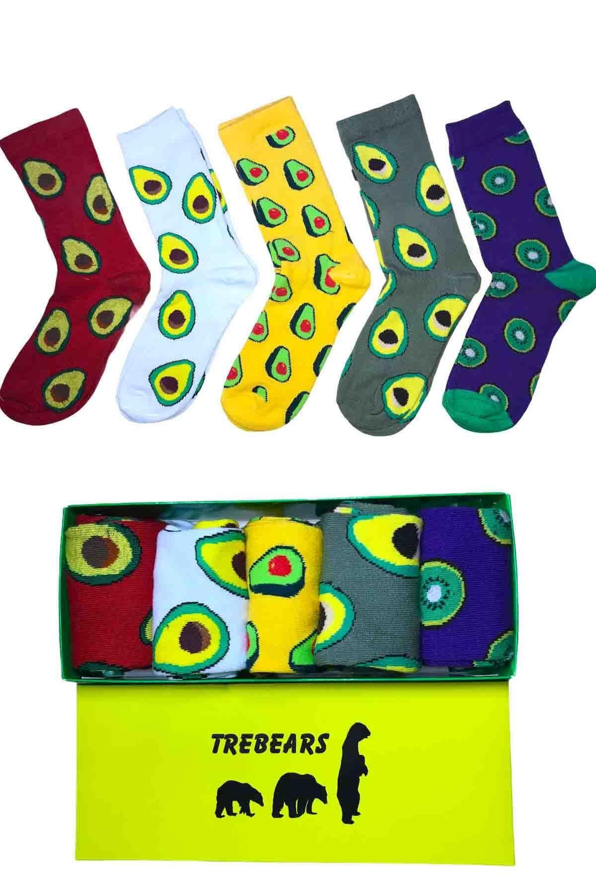 2021 New Fashion Avocado Fruit Patterned Socks And Kiwi 5 Pieces Set Comfortable Aesthetic Patterned Cotton New Style Soft