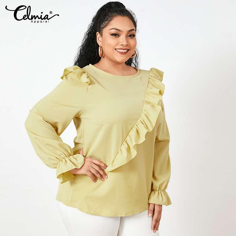 Elegant Women Solid Blouses Celmia 2021 Fashion Long Flare Sleeve Shirts Casual Loose Work Tops Female Ruffles Blusas Plus Size