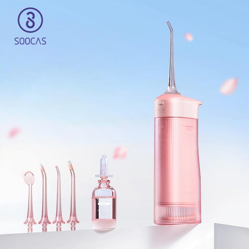 SOOCAS W1 المياه Flosser الأسنان 4 نوع فوهة نظافة الفم الري نوع-c قابلة للشحن نظافة 7-طرق المياه خزان للازالة