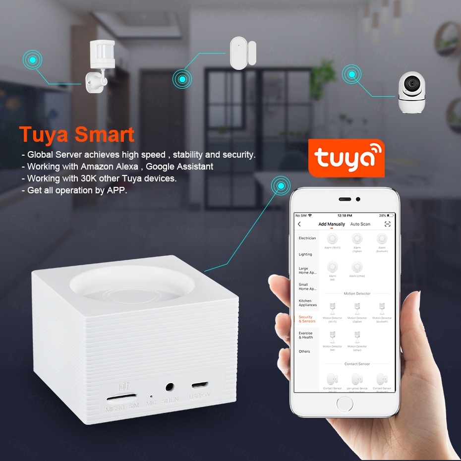 FUERS G95 Smart Home Alarm System Tuya APP Control Wireless WiFi GSM Features Voice Broadcast Language Switched Security System enlarge